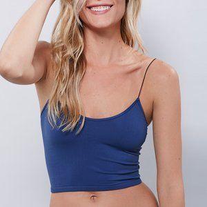 FREE PEOPLE navy seamless skinny strap brami top